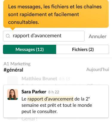 Des résultats d'une recherche dans l'interface Slack, avec messages pertinents et filtres de recherche.