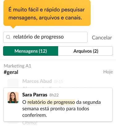 Resultados da pesquisa na interface do Slack, incluindo mensagens relevantes e filtros de pesquisa.