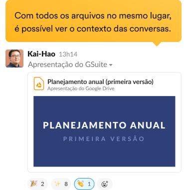 Pessoa compartilhando um arquivo em um canal na interface do Slack.