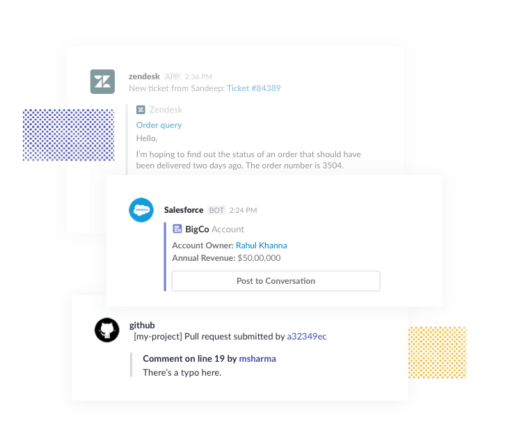 Automated messages from Zendesk, GitHub and Salesforce apps. Salesforce integration displays customer account information with a button to post to main converstation.
