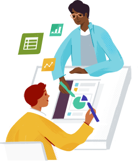 Ilustração de duas pessoas trabalhando juntas