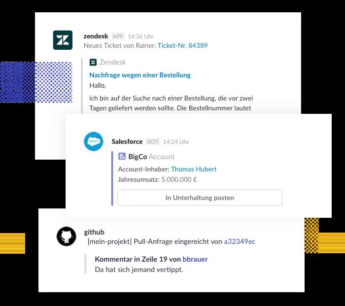 Verbinde alle Tools, die du verwendest, mit Slack, damit du nicht ständig zwischen Apps hin und her zu wechseln brauchst.