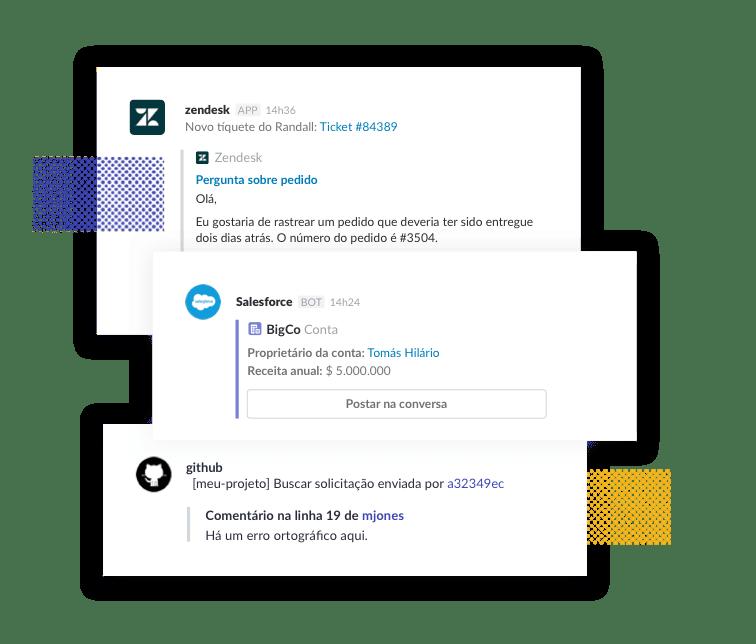 Conecte todas as ferramentas que você usa com o Slack para não ter que alternar entre apps toda hora.