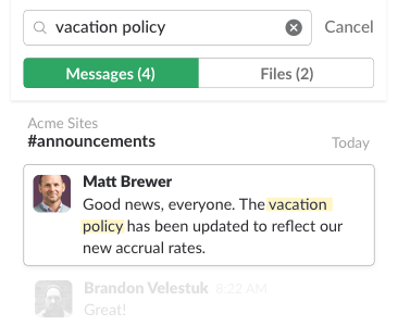 Example of search in a Slack workspace