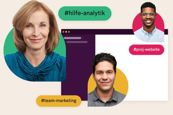"""Ein Slack-Channel umgeben von Profilfotos und Channel-Namen wie """"team-design"""" und """"rechnungsstellung""""."""