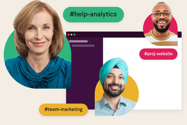 """A Slack channel surrounded by users' profile photos and channel names such as """"team design"""" and """"billing"""""""