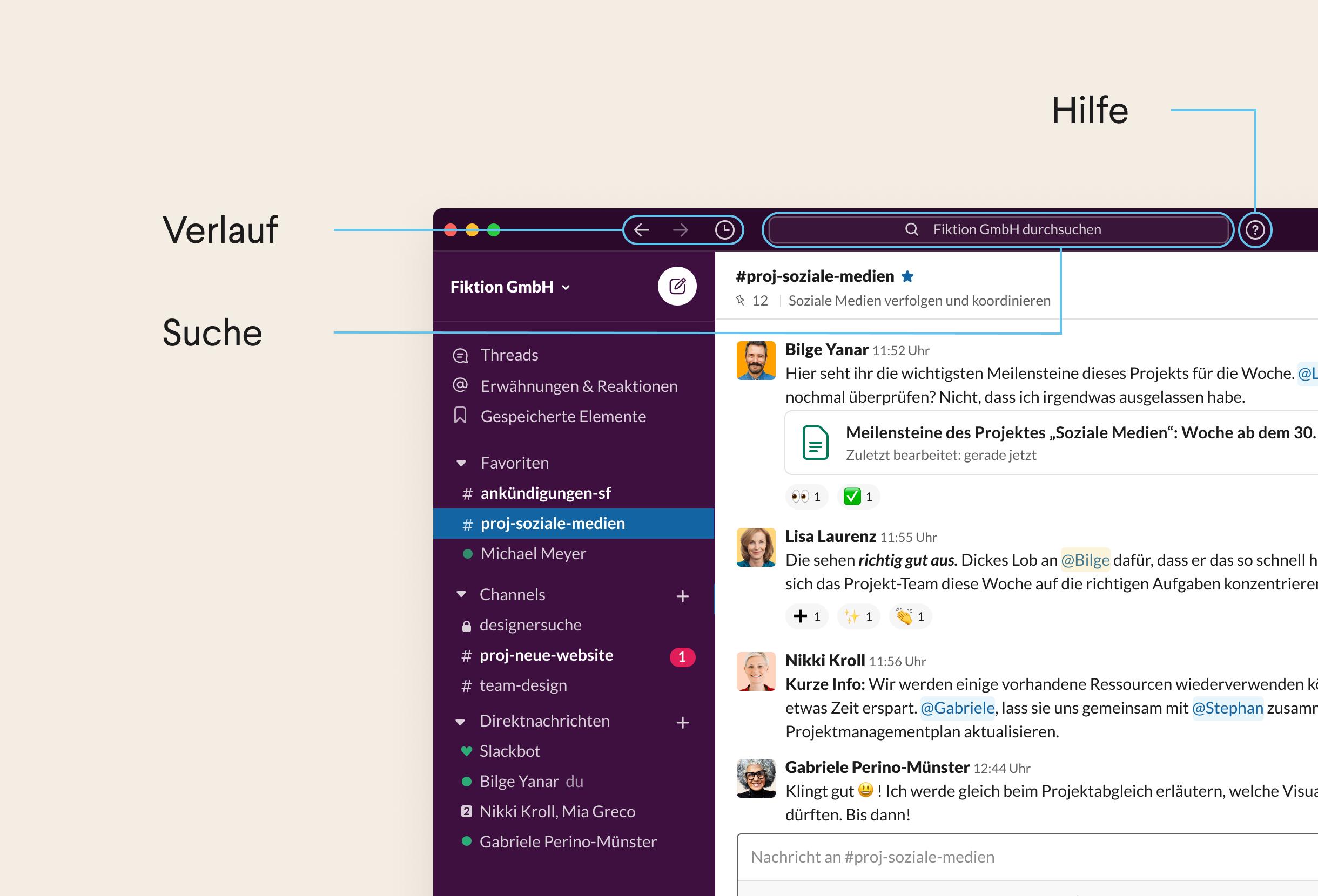 Oberer Bereich der Desktop-App von Slack mit Navigationssymbolen und Suchleiste