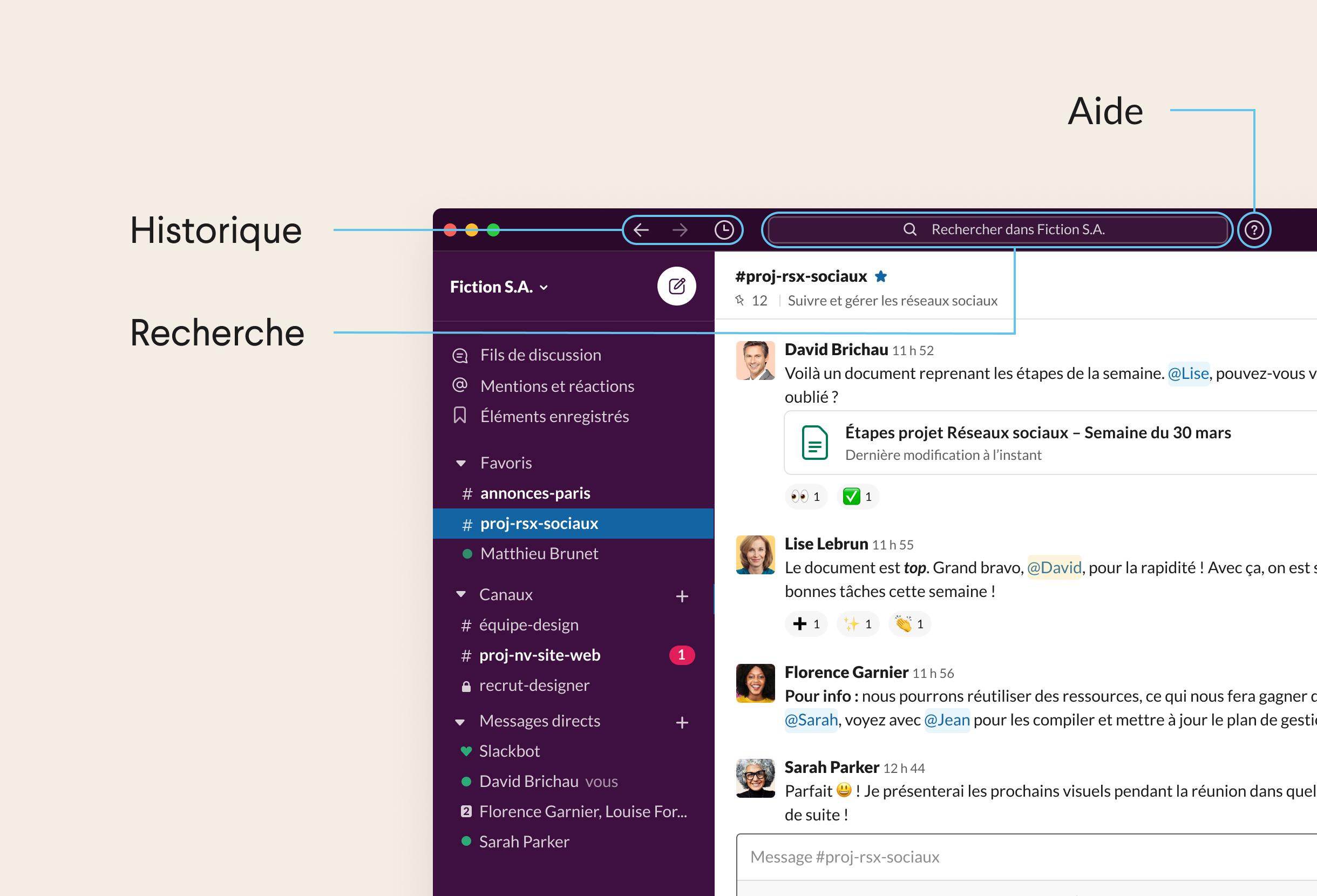 Partie supérieure de l'application Slack pour bureau affichant les icônes de navigation et la barre de recherche
