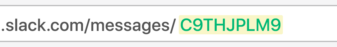 URL bar showing channel ID highlighted in green and yellow