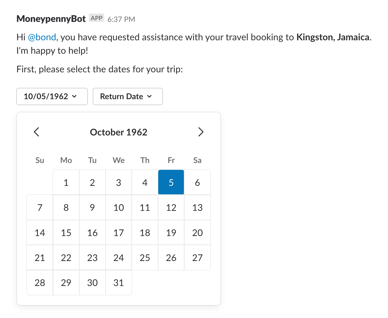 An date picker in a Slack message showing a user selecting a date