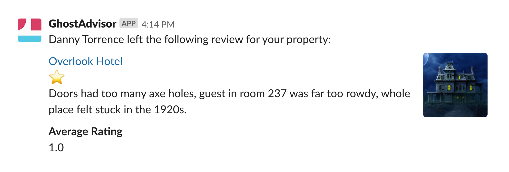 Message with blocks showing a review of a hotel with 1 stars given