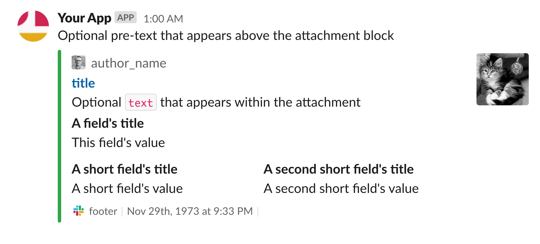 Example message with attachment showing full range of fields