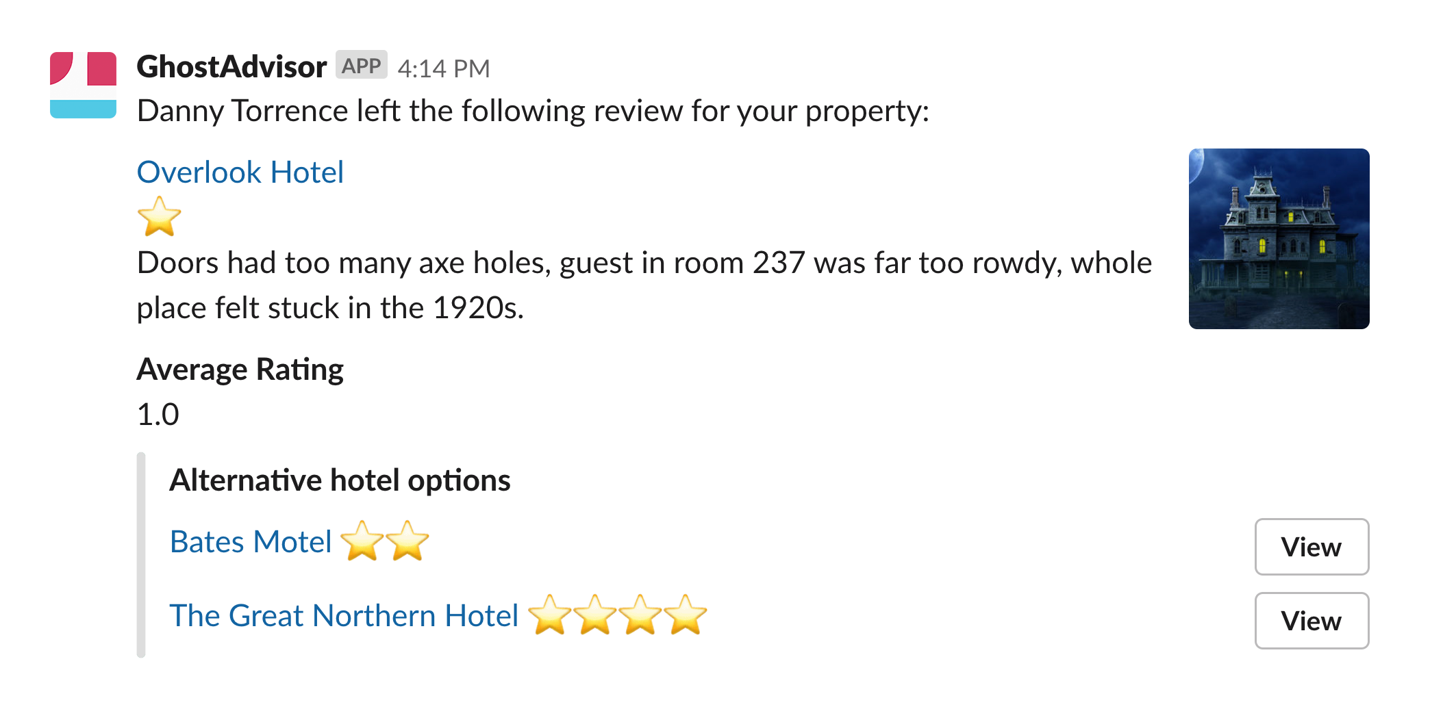 Message with blocks showing a review of a hotel with 1 stars given, and secondary content showing alternative hotel options