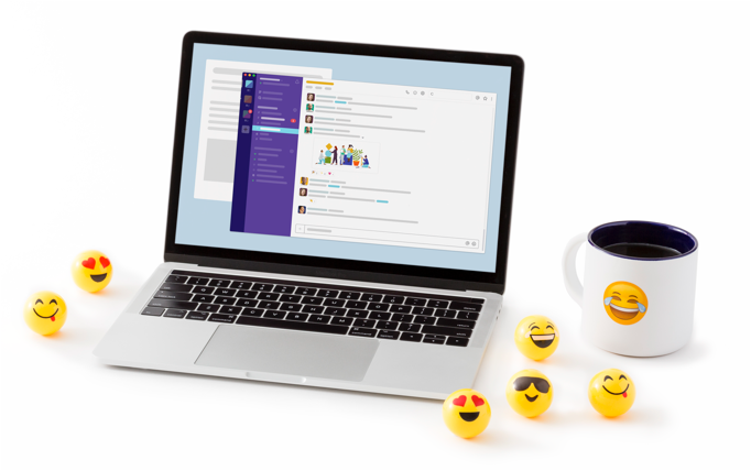 Slack app displayed on a laptop alongside emoji ping pong balls and a hot cup of coffee