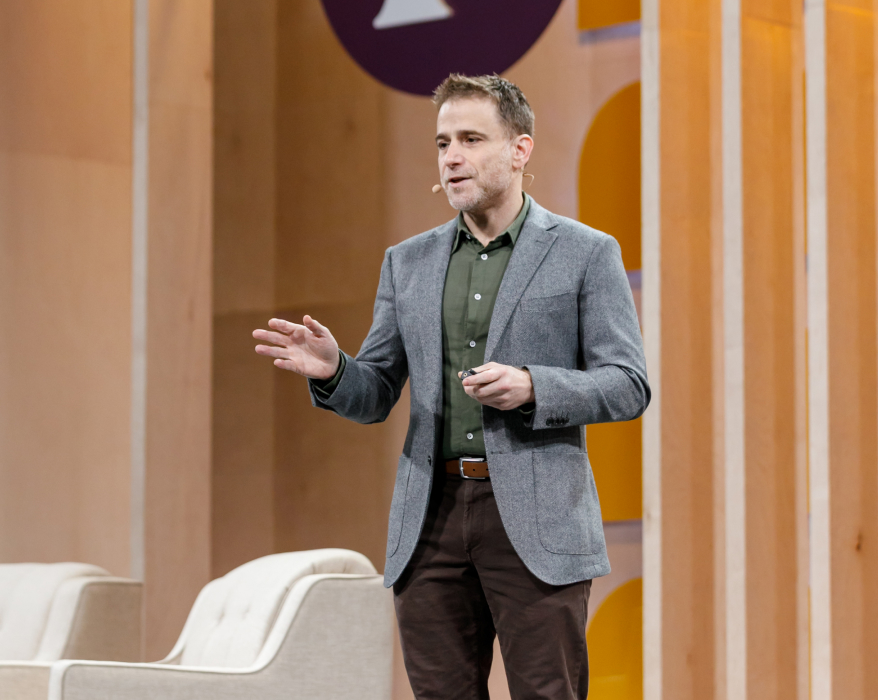 Slack CEO Stewart Butterfield speaks from the Slack Frontiers stage in 2019