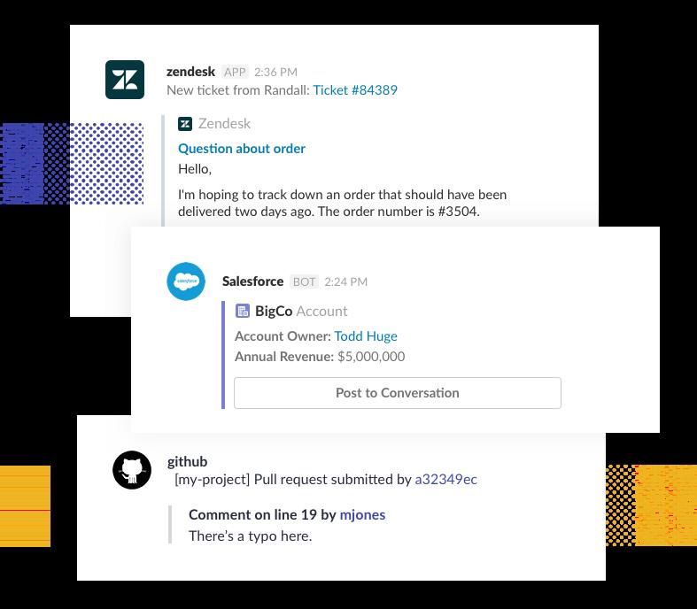 Conecta a Slack todas las herramientas que utilizas y evita todo ese cambio constante entre aplicaciones.