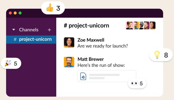 Team discussing work in the Slack app
