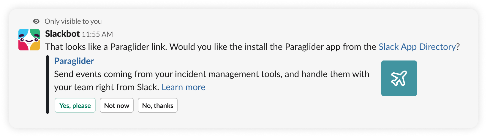An example app suggestion for an app called Paraglider.