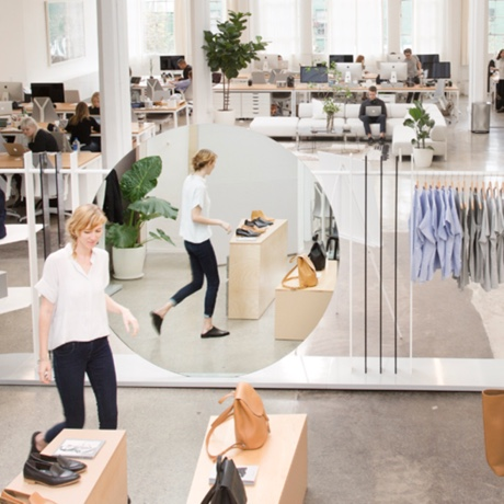 Clothing items and workers at Everlane headquarters