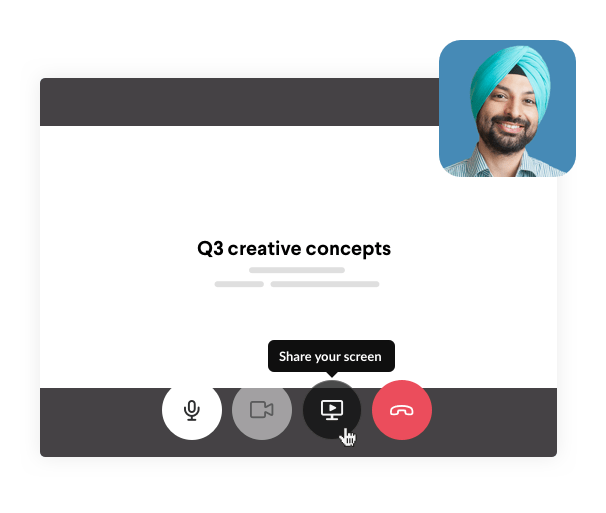During a Slack video call, you can share your screen. Image of man smiling as screen sharing begins.