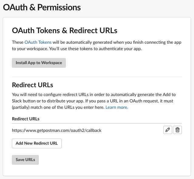 Redirect URLs