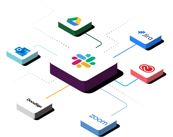 Icons for apps like Salesforce and Google Drive connecting to Slack