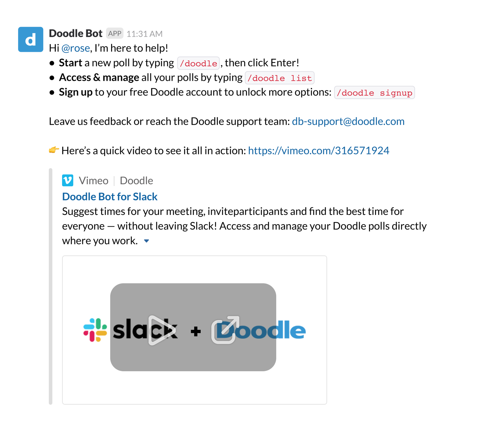 Doodle Bot offering list of helpful tips with embedded video