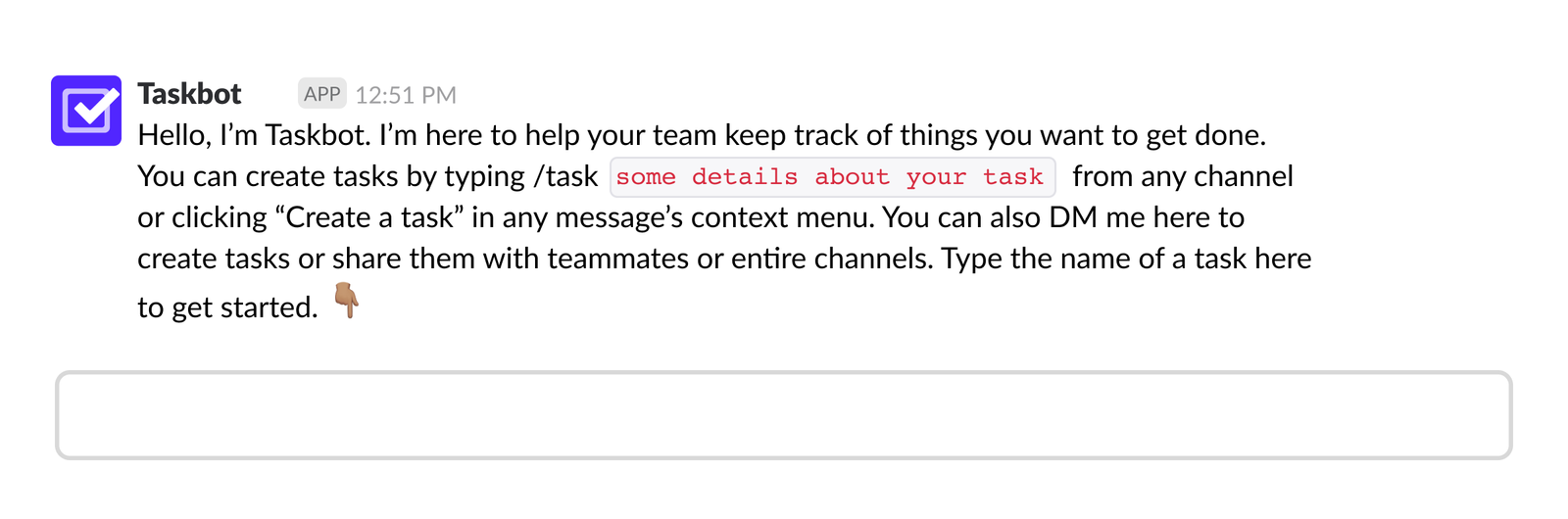 DM from taskbot with field prompting users to DM taskbot back