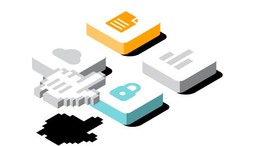 Ilustración 3D de los íconos de candado, la nube, la barra de datos y la hoja de cálculo
