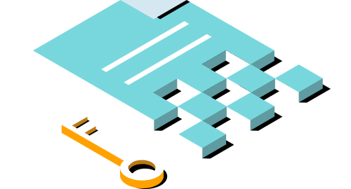 Ilustración de documento y clave.