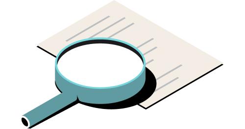 Ilustración de transparencia de un documento bajo la lupa.