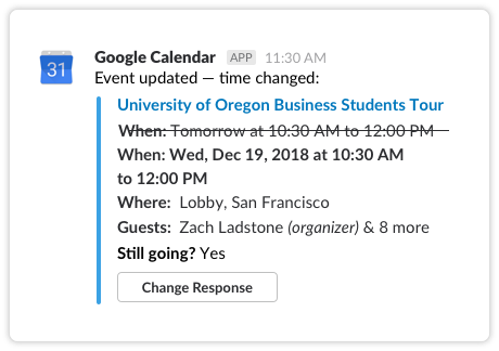 Google Calendar App | Slack