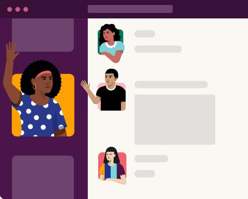 Aplicación de Slack con fotos de perfil de dibujos que saludan