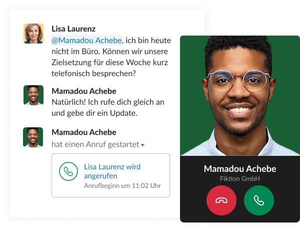 Ein simulierter Screenshot zeigt eine kurze Unterhaltung in Slack zwischen Mitarbeitern, die mit einem Anruf endet