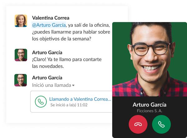 Captura de pantalla simulada que muestra una breve conversación en Slack entre compañeros de trabajo. La conversación finaliza con una llamada.