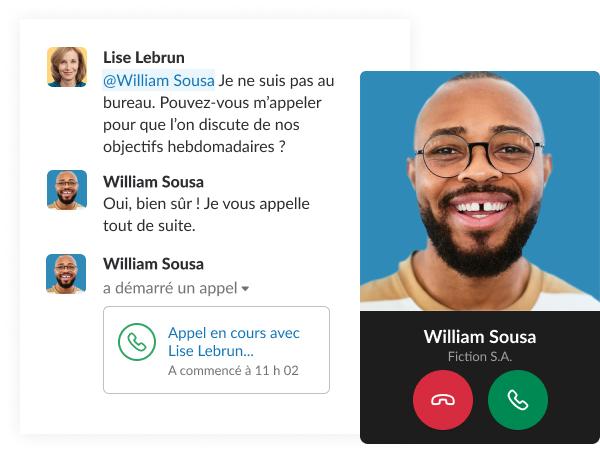 Une capture d'écran factice montre une brève conversation entre collègues dans Slack qui se termine par un appel.