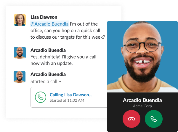 A simulated screenshot shows a brief conversation in Slack between coworkers, ending with a call