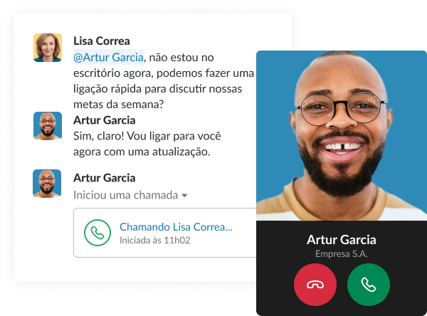 Uma captura de tela simulada mostra uma conversa rápida no Slack entre colegas de trabalho, encerrando com uma chamada.