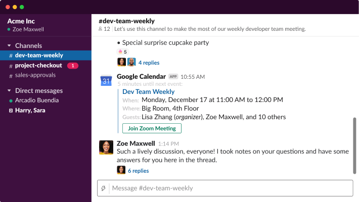 Interactive demo of Slack