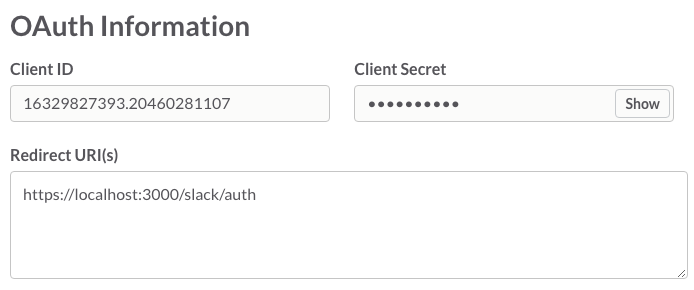 OAuth redirect configuration