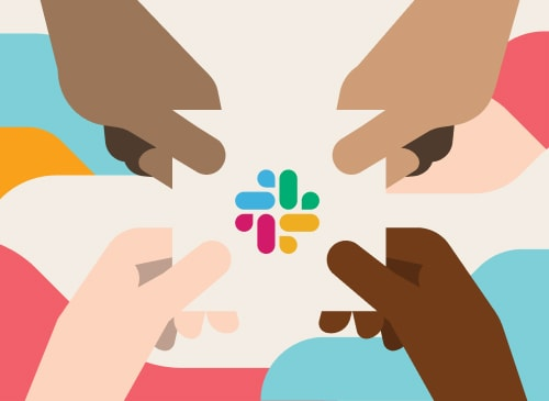 Illustration of four hands holding the Slack logo.