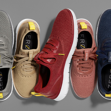 A selection of shoes from Cole Haan's new ZERØGRAND collection overlaid with the Slack logo.