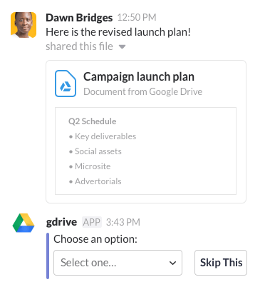 Someone sharing a file with the Google Drive app in Slack