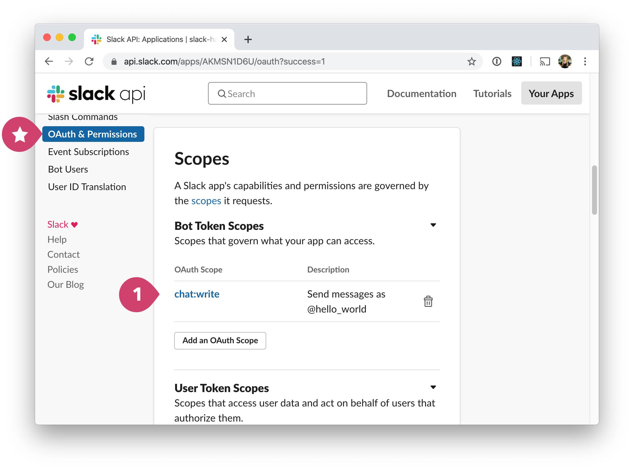 screen - slack config scopes
