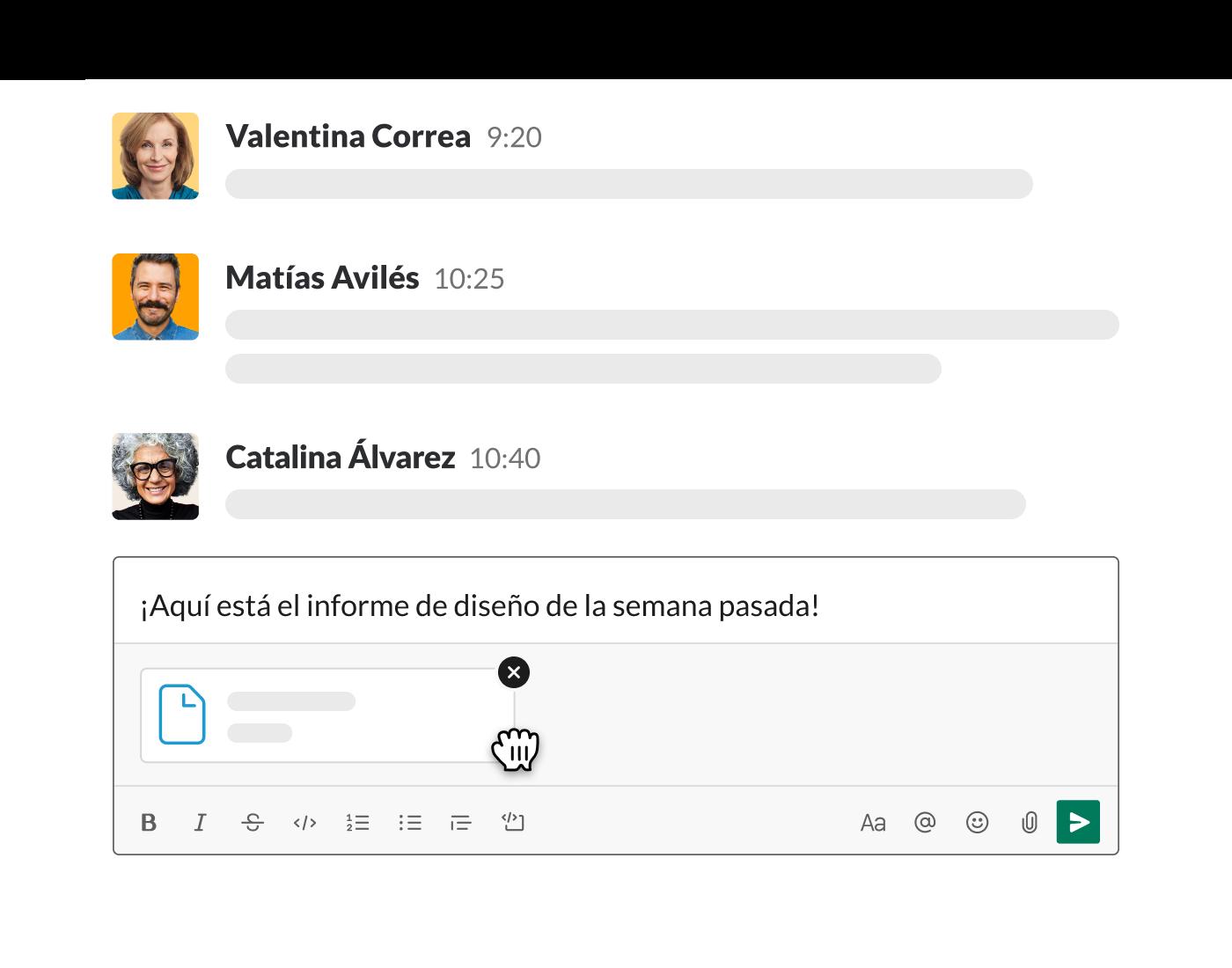 subir un archivo a Slack desde el campo de mensaje