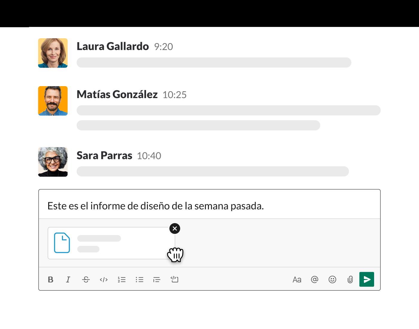 Subir un archivo a Slack desde el campo de mensajes