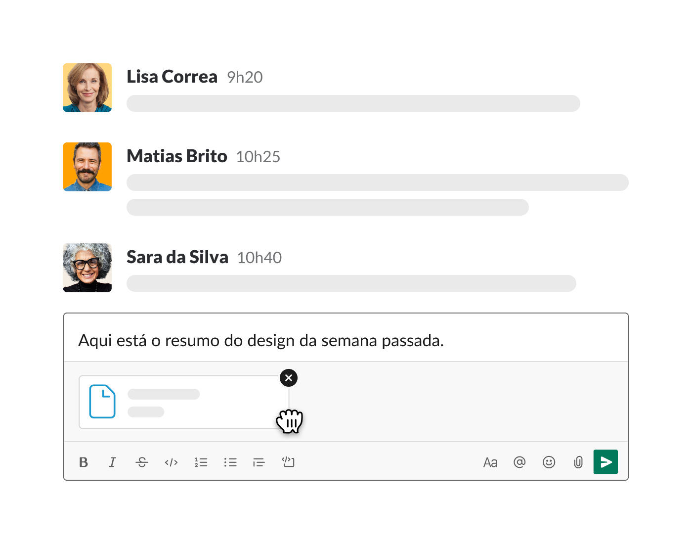 upload de um arquivo no Slack, no campo de mensagem