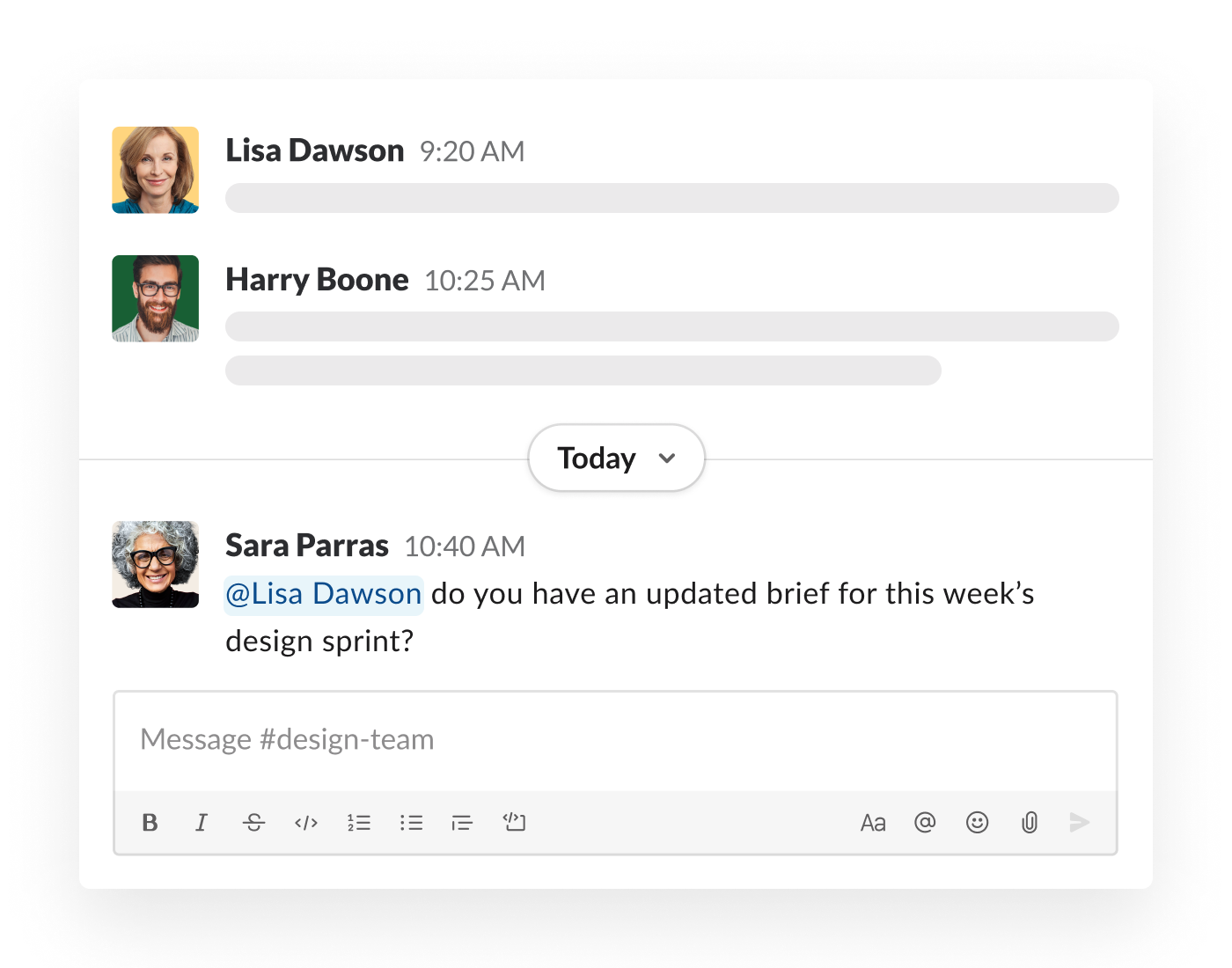 A mention included in a message in a Slack conversation