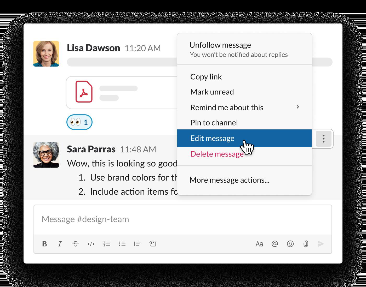 editing a sent message in a Slack conversation