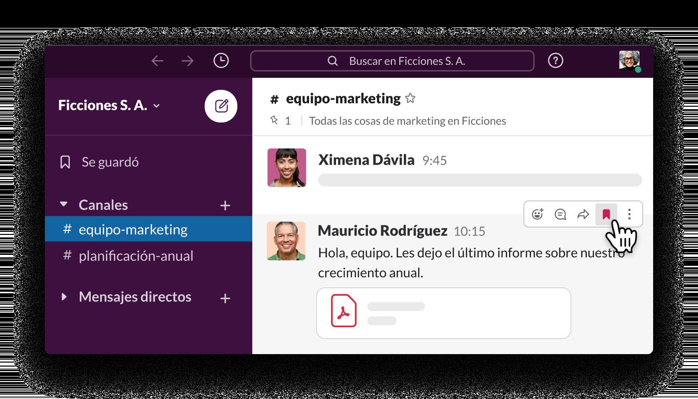 hacer clic en el ícono de guardar junto a un mensaje de Slack para agregarlo a tu lista de elementos guardados